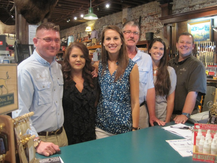 L to R  Mike Burnett - Gun Manager, Pam Edwards - Store Manager, Krista      Peace - Sales, Max Smith - Receiving and Sales, Mary Price Barcey - Sales,  Jarred Singletary - Gun Department