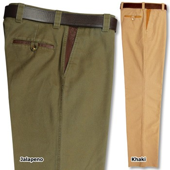 Kevin's Vintage Khaki Men's Pants with Leather Trim