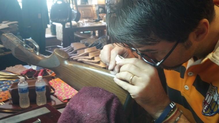 Beretta Engraver Luca Casari engraves gun