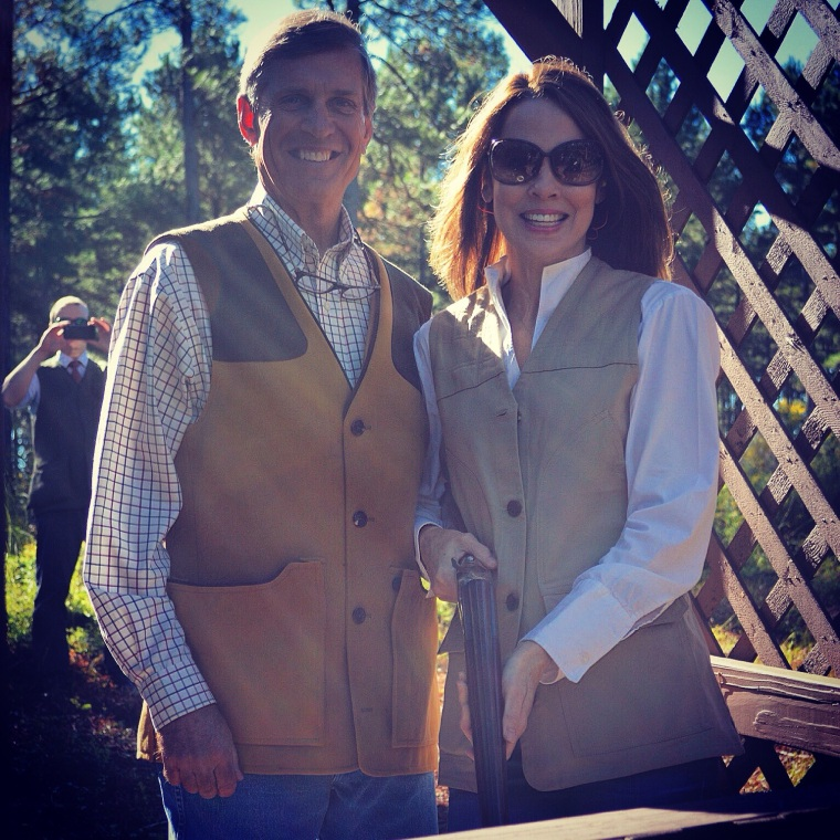 Kevin and Kathleen sporting their Purdey shooting vests |Click the picture to be directed to Kathleen's vest